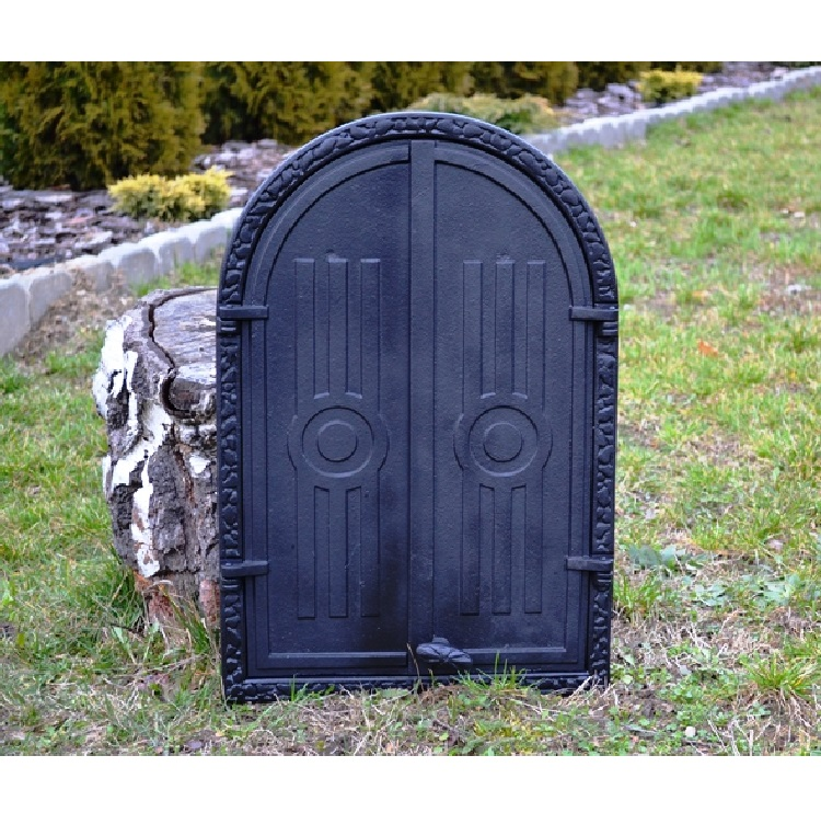 Ofentür aus Gusseisen 39 5 x 59 cm schwarz